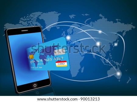smart phone with credit card on global map background - stock photo