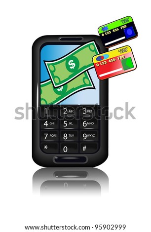 Smart Phone with Credit Cards - stock photo
