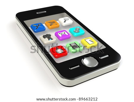 Smart Phone with 3D icons. Standard applications.