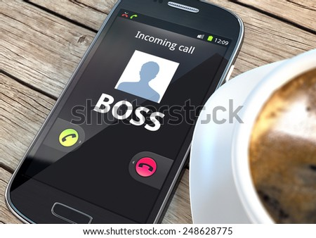 Smart phone with incoming boss call and coffee on a table - stock photo