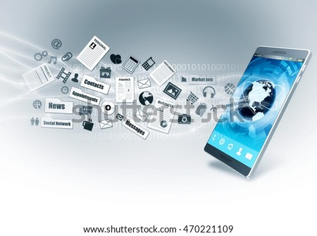 Smart phone with internet connection as a device to acces multimedia information