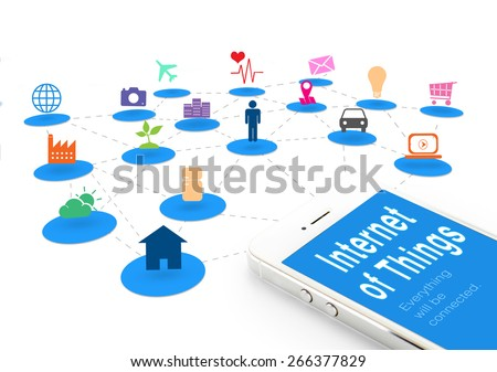 Smart phone with Internet of things (IoT) word and objects icon connecting together,Internet networking concept. - stock photo