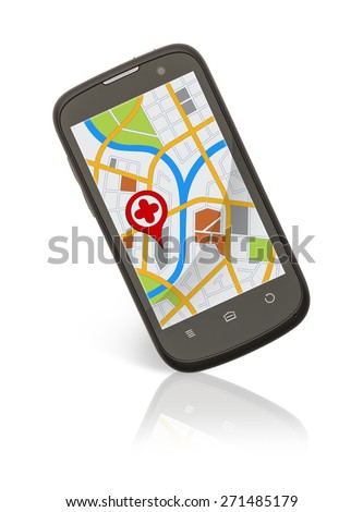 Smart Phone with Map Location Isolated on White Background.