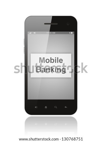 Smart phone with mobile banking button on its screen isolated on white background. - stock photo