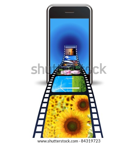 smart phone with photos on a white background - stock photo