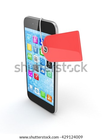 Smart phone with red price tag on white background. Identification, price, label. 3D rendering.