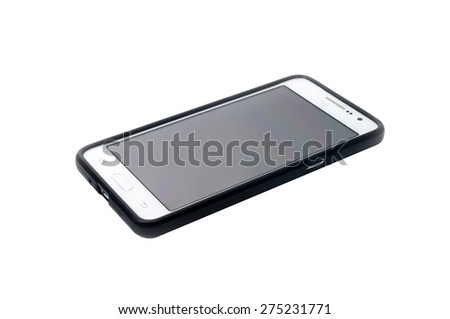 Smart phone with silicon case isolated on white background - stock photo