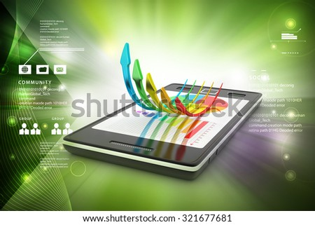 Smart phone with successive arrow in color background