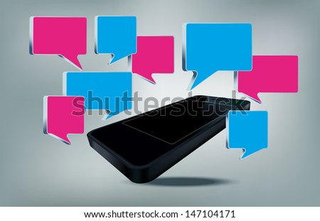 Smart phone with text bubbles