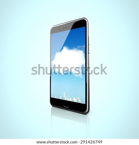 Smart phone with white cloud touchscreen, side view, white background. - stock photo