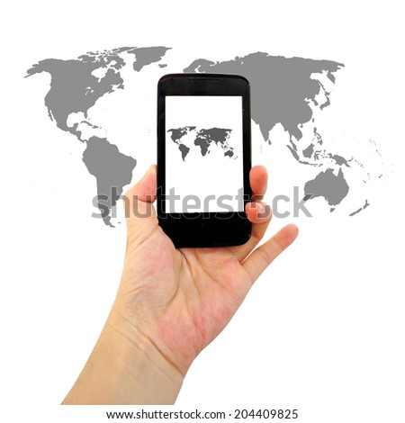 smart phone with world map for social and internet connectivity concept
