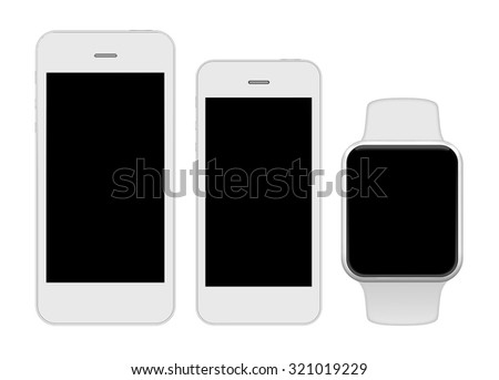 Smart phones and smart watch on a white background - stock photo