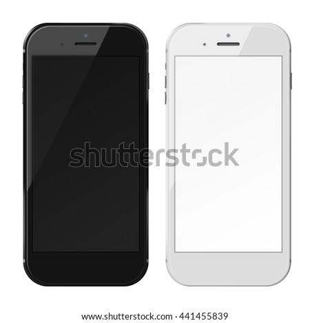 Smart phones in iphon style with black and blank screens isolated on white background. 3D illustration.
