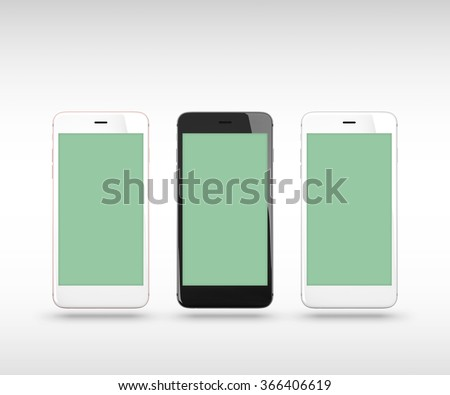 Smart phones isolated on white background. With clipping paths for their displays. - stock photo