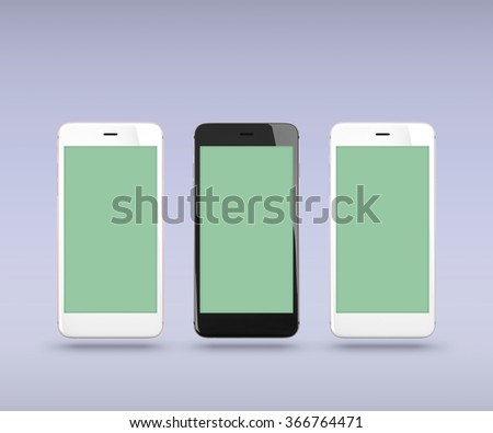 Smart phones over simple background. With clipping paths for their displays. - stock photo