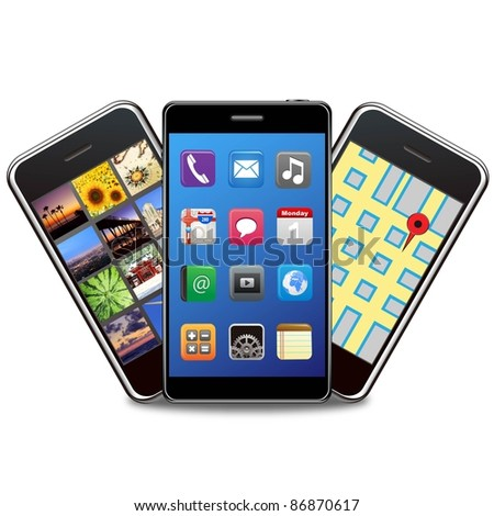 smart phones set on a white background - stock photo