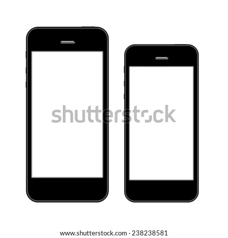 Smart phones similar to iphone in two sizes - stock photo