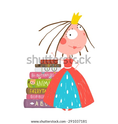 Smart Princess Beautiful Girl Getting Education Reading Books. Colorful sketchy cute drawing for little kids about reading books. Raster variant. - stock photo