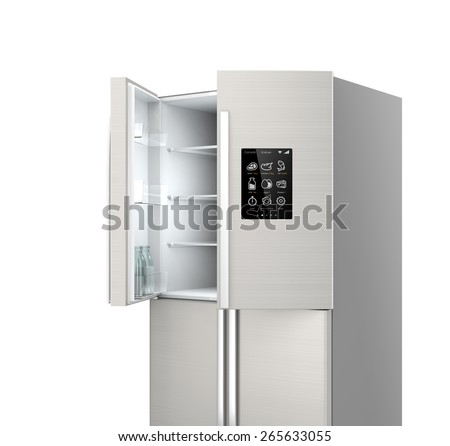Smart refrigerator with LCD screen. People can know what need to buy next. Concept  of IoT. - stock photo
