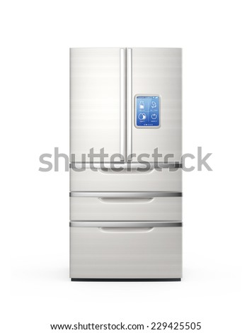 Smart refrigerator with monitor which can check item information - stock photo