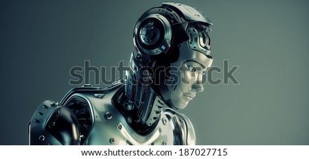 Smart robot woman 3d render - stock photo