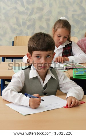 Smart schoolboy at lesson