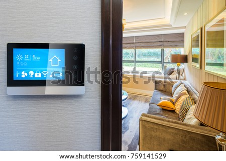 smart screen with smart home and modern living room. Smart Home Technology Stock Images  Royalty Free Images   Vectors