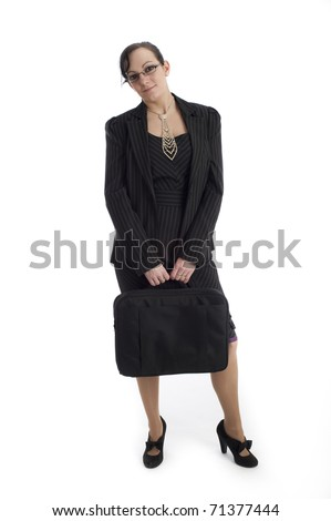 Smart sexy business woman isolated against white