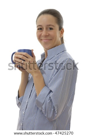 Smart smiling business woman drinking a cup of coffee on a white background