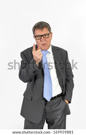smart succesful business man with blue tie warns an employee