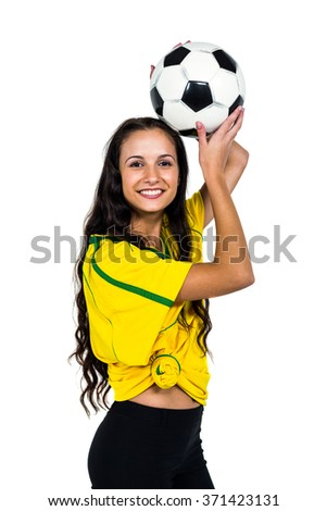 Smart supporting woman holding football ball on white screen