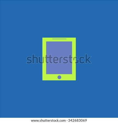 Smart tablet. Colorful retro flat icon - stock photo