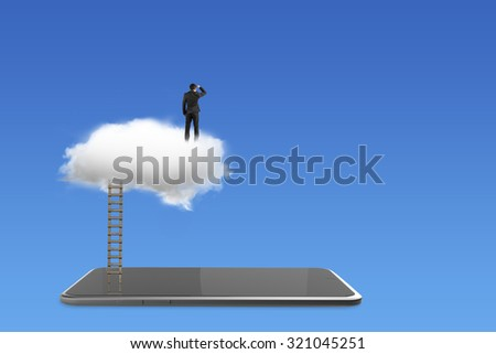 Smart tablet with businessman standing on white cloud, on blue background. - stock photo
