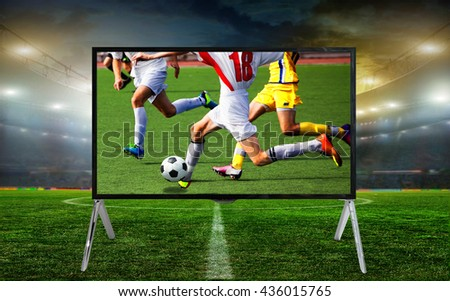 Smart tv led monitor isolated on white background. Soccer game. Telecasting