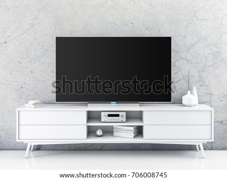 Smart Tv Mockup with blank black screen standing on white console in modern room, 3d rendering
