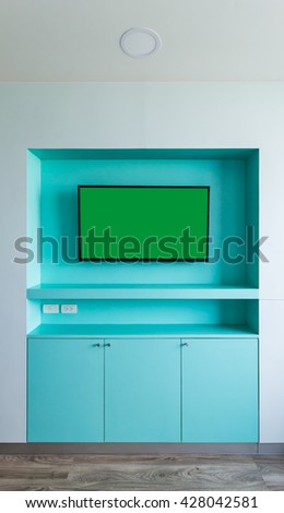 smart TV on the wall - stock photo