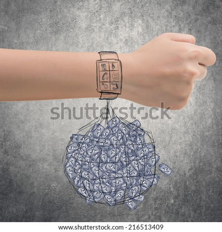 Smart watch concept of energy waste. - stock photo