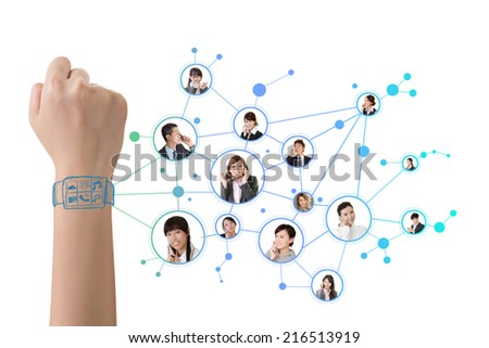 Smart watch concept of social connect. - stock photo