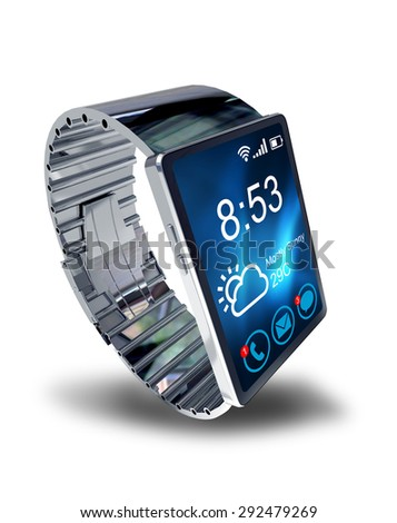 Smart watch isolated on white background. Creative business mobility and modern mobile wearable device technology concept. Color digital smart watch with colorful screen interface. 3D render  - stock photo