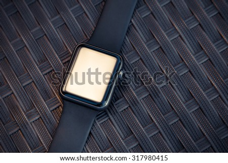 Smart watch on texture background. Mockup