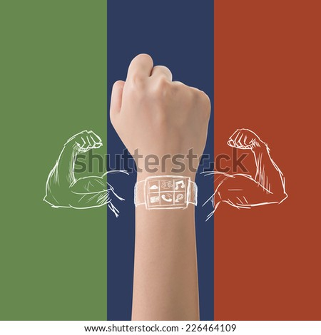 Smart watch power concept with strong muscle. - stock photo
