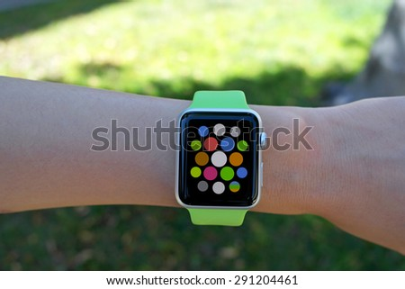 Smart watch - smartwatch - with apps on wrist - stock photo