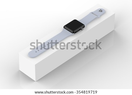 Smart watch space black stainless steel with gray buckle color - isolated on white - render image.