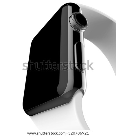 Smart watch space black stainless steel with white buckle color - isolated on white - render image
