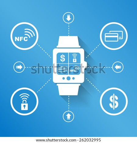 Smart watch wearable device for pay and shopping concept - stock photo