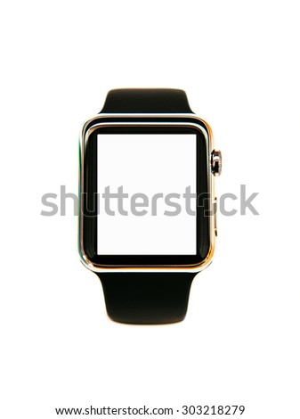 Smart watch wearable device isolated with white screen - stock photo