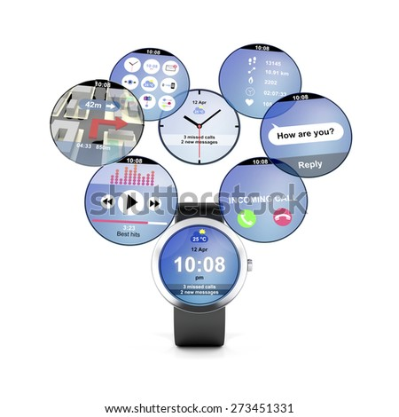 Smart watch with different apps - stock photo
