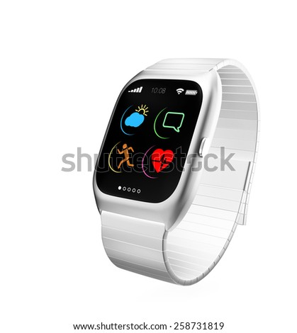 Smart watch with simple design icons isolated on white background - stock photo