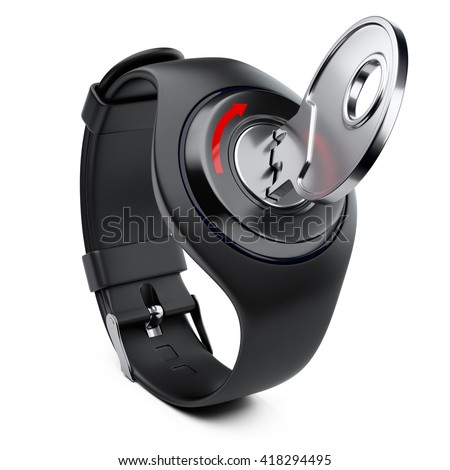 Smart watch with the key and keyhole. Security concept. 3d image isolated on a white background.