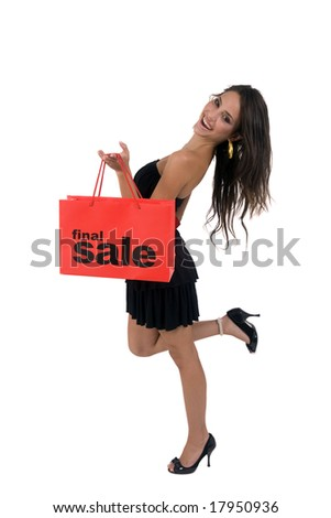smart woman with carry bag on isolated background - stock photo